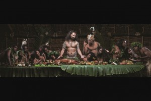 The Last Cannibal Supper by Mr. Greg Semu (New Zealand). Medium/Material: HD Photography and light boxes, total 9 images. Greg's work provocatively explores issues surrounding the religious colonisation of indigenous peoples in the Pacific. The impact of this on Pacific people was as profound and long-lasting as its political counterpart. Working with Kanakpeople as actors, Greg emulated Leonardo Da Vinci's famed image 'The Last Supper'. This work, redolent with mimicry and irony, resonated with contemporary Kanaks as part of their historical and cultural experience.